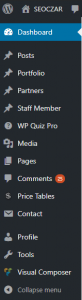 dashboard menu items of wordpress